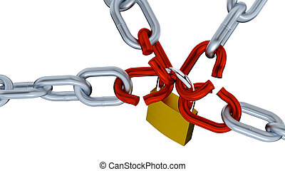 Four Big Chains with Four big Red Links locked by a Padlock