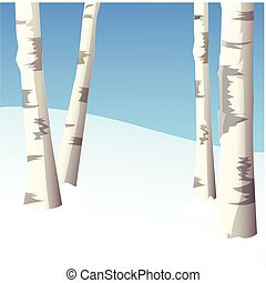 Four birches in winter wood, the blue sky. Vector
