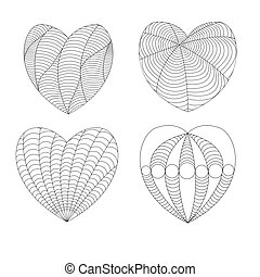four black and white hearts in a zenart style on a white background, four different patterns