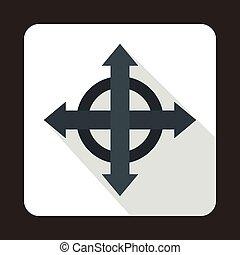 Four black arrows icon, flat style