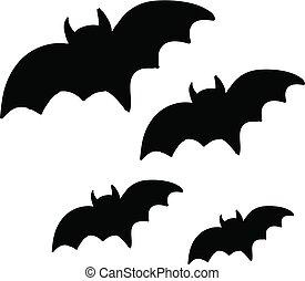 Four black bats flying in the sky vector or color illustration