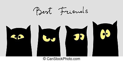Four black cats silhouettes with different tempers. Friendship concept. Best friend forever. Vector illustration.