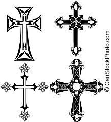 four black cross - four silhouetted , black cross on a white...