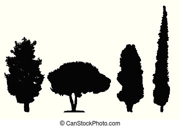 four black silhouette trees vector set