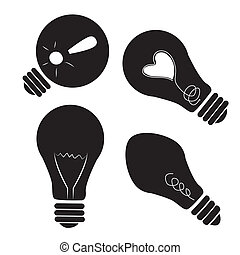 four black silhouettes of lightbulbs with different elements inside them