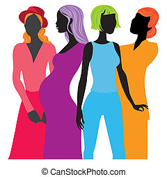 Four black women standing against an isolated white background