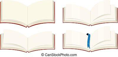 Four blank books on white background