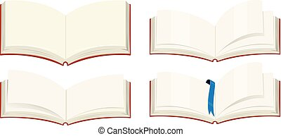 Four blank books on white background