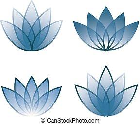 Four blue icon lotos lines