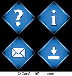 Four blue web icons