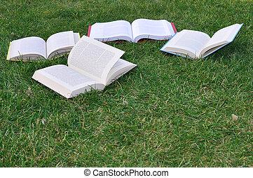 four books on grass