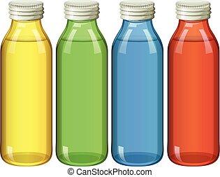 Four bottles in different colors illustration