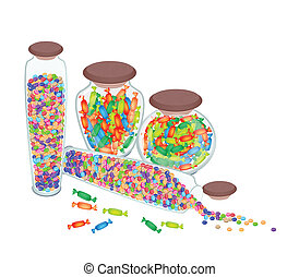 Four Bottles of Chocolate Candies and Hard Candies