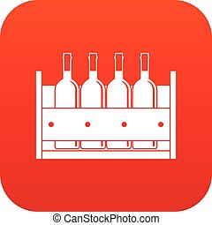 Four bottles of wine in a wooden box icon digital red for...