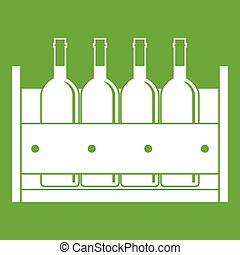 Four bottles of wine in a wooden box icon green - Four...