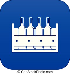 Four bottles of wine in a wooden box icon digital blue for any design isolated on white vector illustration