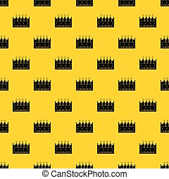 Four bottles of wine in a wooden box pattern seamless vector repeat geometric yellow for any design