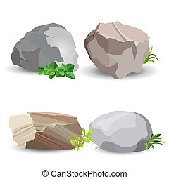 Four boulder stones with green grass isolated on white