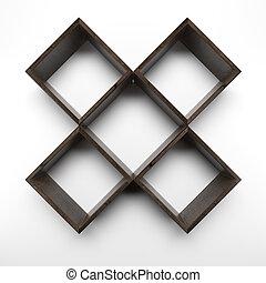 Four Box shelves on white wall