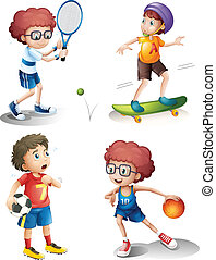 Four boys performing different sports - Illustration of the...