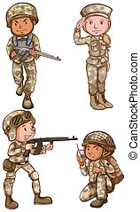 Four brave soldiers