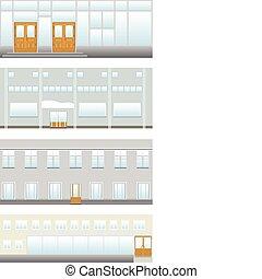 Four breadboard models of shop, preparation for design. A vector illustration