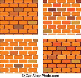 Four brick seamless vector texture