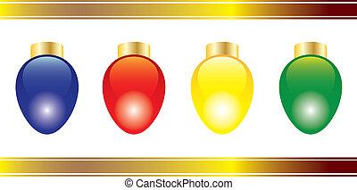 Christmas lights - Four bright and colorful Christmas lights