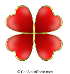 four bright hearts in form a butterfly on a white background