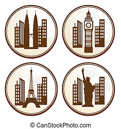 buildings - four brown icons with some silhouettes of...