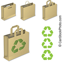 Four brown paper bags with recycle symbol.