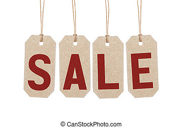 four brown tags with word sale