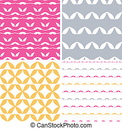 Four bstract leaf shapes geometric patterns backgrounds -...