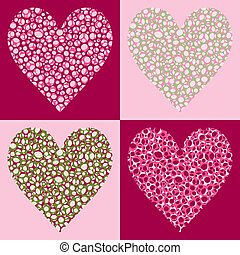 Four Bubble Filled Hearts with Four Color Variations