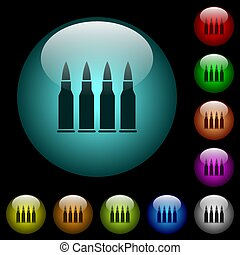 Four bullets icons in color illuminated glass buttons