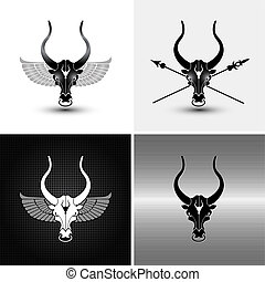 four bulls - four logo type variations of iron bull icons ...