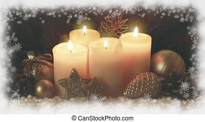 Four burning Advent candles and snow frame. - Christmas gold...