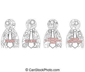 Four business matrioshka - Vector illustration of a four...