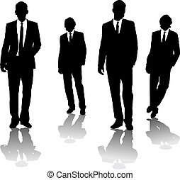 business men - Four business men drawn in black silhouette ...