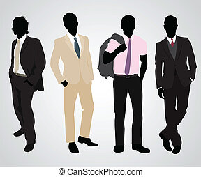 Four businessman silhouettes