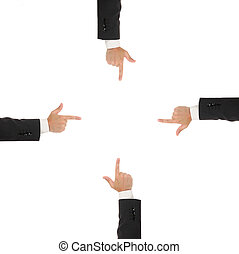 Four businessmans hand pointing inside,, isolated on white background