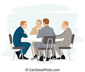 Four businessmen negotiations - Vector illustration of a...