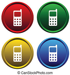Four multi-colored, plastic buttons with cell phone