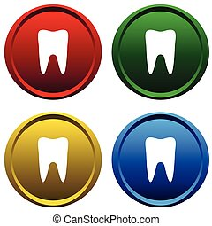 Four multi-colored, plastic buttons with the symbol of the tooth