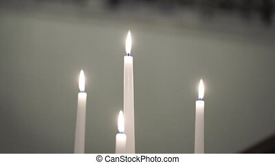 Four candles indoors - Four white candles fire indoors