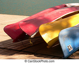 Rental canoes at Moraine Lake, Banff National Park, Alberta, Canada.