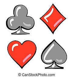 Four card suits. Cards deck.
