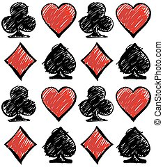 Four card suits. Cards deck pattern.