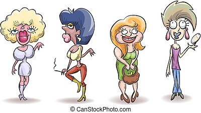 Four caricature ugly woman, simple sketch vector, isolated...