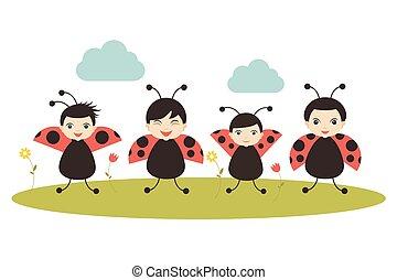 Four cartoon ladybirds on white background. Flat vector....